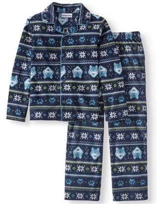 Komar Kids Boys' Fair Isle Fleece Button Front 2-piece Pajama Sleep Set (Little Boys & Big Boys)