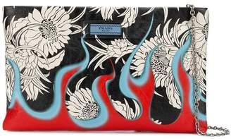 Prada floral flame print clutch