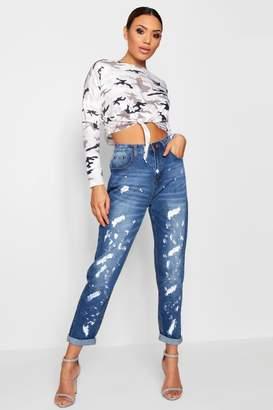 boohoo Hatty Paint Splatter Boyfriend Jeans
