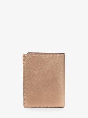 MICHAEL Michael Kors Travel Metallic Saffiano Leather Passport Wallet