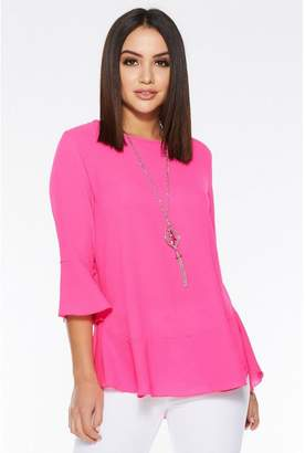Quiz Pink 3/4 Sleeve Frill Hem Necklace Top