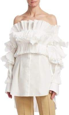 Rosie Assoulin Ruffled Off-Shoulder Blouse