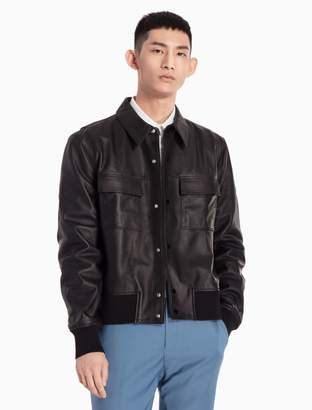 Calvin Klein double pocket leather jacket