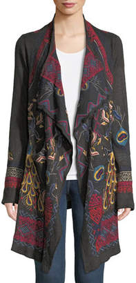 Johnny Was Pav Open-Front Wrap Jacket with Peacock Embroidery