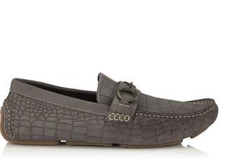 Jimmy Choo BROGAN Iron Grey Croc Printed Dry Suede Driving Shoes