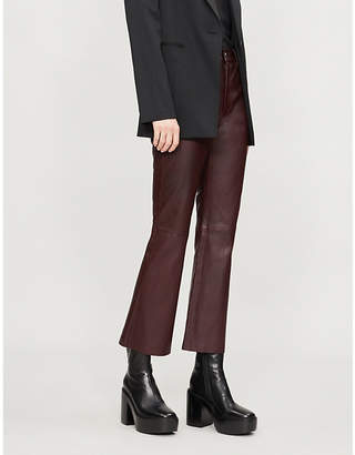 Helmut Lang Mid-rise flared leather trousers
