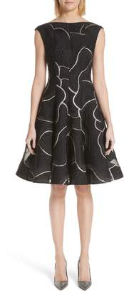 Talbot Runhof Petal Contour Silk Blend Jacquard Dress