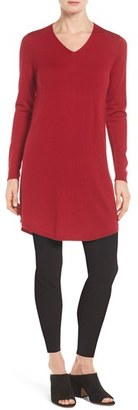 Women's Eileen Fisher Lightweight Merino Jersey V-Neck Tunic $258 thestylecure.com