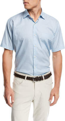 Peter Millar Sail Away Short Sleeve Woven Shirt, Medium Blue