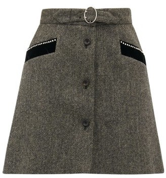 Miu Miu Crystal Embellished Wool Herringbone Mini Skirt - Womens - Dark Grey