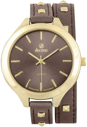 Decree Girls Brown Gold-Tone Stud Wrap Watch