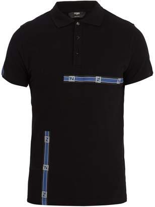 Fendi Logo-printed tape cotton polo shirt