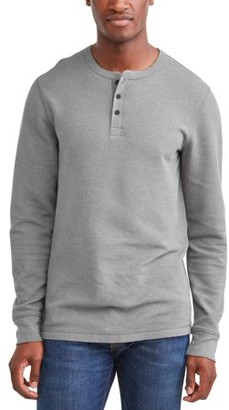 George Men's Long Sleeve Thermal Henley, up to size 5XL