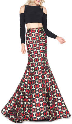 Mac Duggal Long-Sleeve Two-Piece Harlequin-Skirt Gown