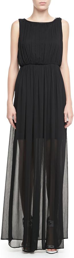 Alice + Olivia Jaydn Sheer-Skirt Maxi Dress