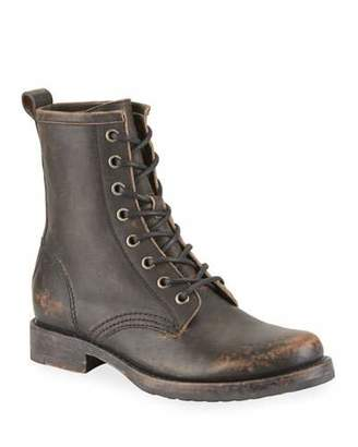 Frye Veronica Rustic Leather Combat Booties