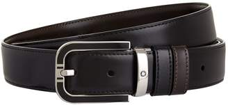 Montblanc Leather Logo Buckle Belt
