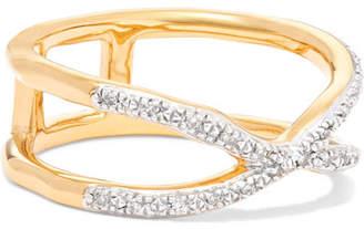 Monica Vinader Riva Wave Cross Gold Vermeil Diamond Ring