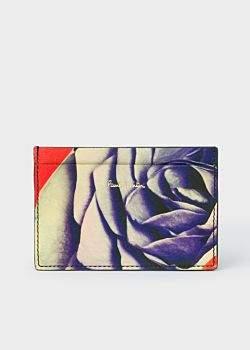 Men's Black 'Rose Collage' Print Leather Credit Card Holder
