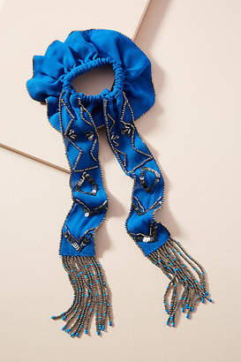 Anthropologie Beaded Fringe Scarf Hair Tie