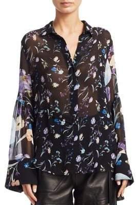 3.1 Phillip Lim Floral Bell-Sleeve Silk Top