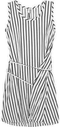 McQ Tie-Front Striped Voile Mini Dress