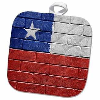 3dRose National flag of Chile painted onto a brick wall Chilean - Pot Holder, 8 by 8-inch