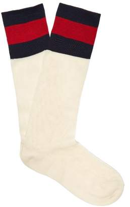 Gucci Web Mesh Cotton Blend Socks - Womens - White Multi