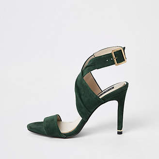 River Island Dark green wrap leather skinny heel sandals