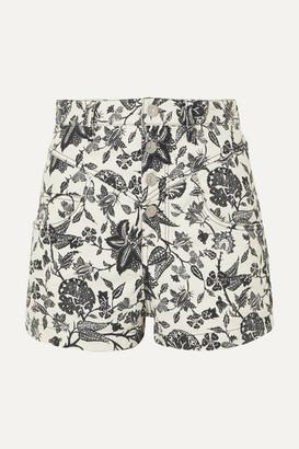 Isabel Marant Loya Floral-print Denim Shorts - Black