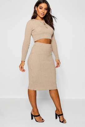 boohoo Rib Knit Midi Skirt Co-Ord