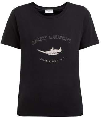 Saint Laurent Free Bird Tour Print Cotton T Shirt - Womens - Black Multi