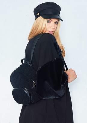 Missy Empire Missyempire Clo Black Teddy Fur Mini Backpack
