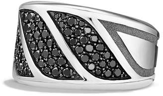 David Yurman Graphic Cable Band Ring with Black Diamonds