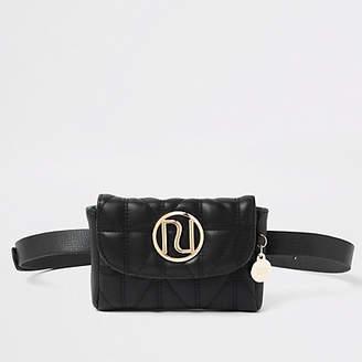 River Island Black quilted RI belt bum bag