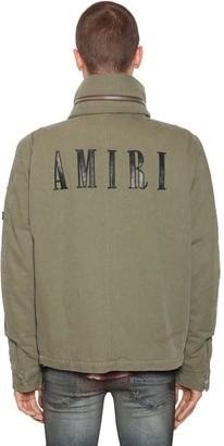 Amiri Cotton Canvas Jacket W/ Leather Patches