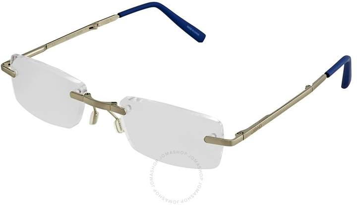 B+D Folding Readers Matt Silver/Blue Eyeglasses