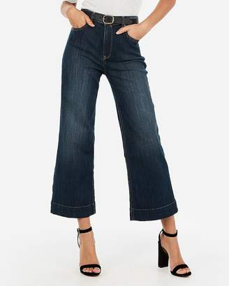 Express High Waisted Cropped Dark Wash Wide Leg Jeans
