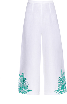 MARA HOFFMAN Palm-embroidered linen-blend culottes $365 thestylecure.com