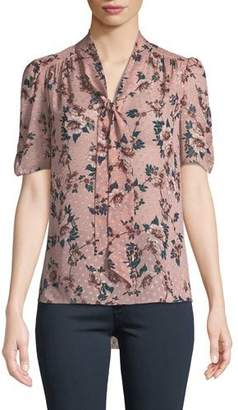 Kate Spade Prairie Rose-Print Tie-Neck Dotted Silk Top