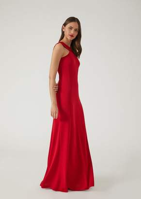 Emporio Armani Maxi Dress With Satin Inserts And Low Back