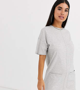 Asos DESIGN Petite cotton double pocket t shirt dress