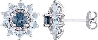 Laura Ashley Jewelry Sterling 2.20 cttw Gemstone & Diamond Earrings