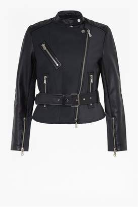 French Connenction Adela Leather Biker Jacket