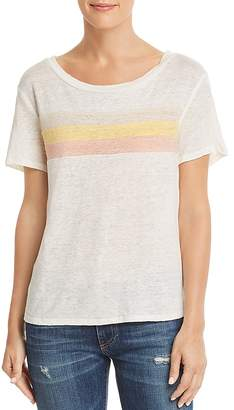Honey Punch Striped Detail Linen Tee