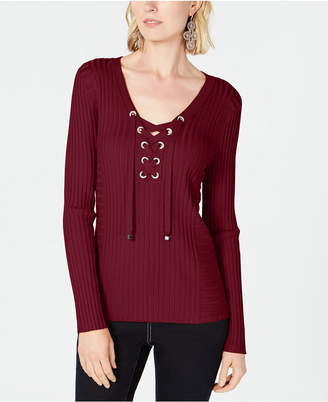 INC International Concepts I.n.c. Ribbed Rhinestone Grommet Sweater, Created for Macy's