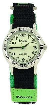 Ravel Nite-Glo Quartz Luminous Dial Green & Black Velcro Boys Watch R1708.11