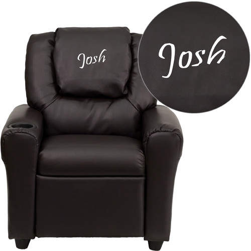 Flash Furniture Deluxe Contemporary Personalized Kids Recliner with Cup Holder