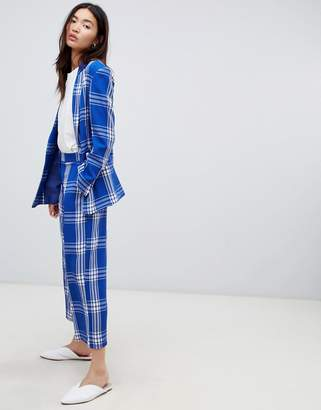 Asos DESIGN tailored blue picnic check cropped wide leg pants