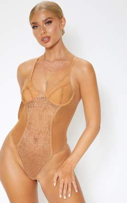 PrettyLittleThing Black Sheer Strappy Cup Detail Bodysuit